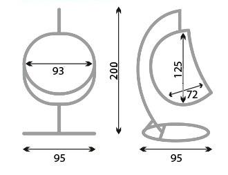 Размеры подвесного кресла tr-601w